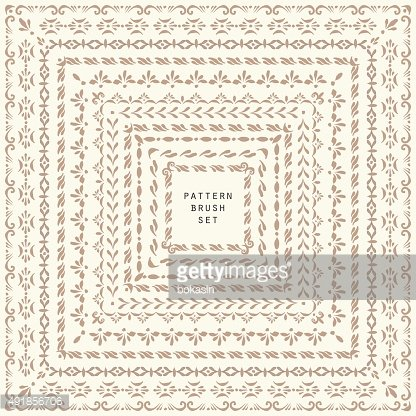 Vector decorative square frame and pattern brush set