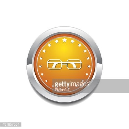Spectacle Yellow Vector Icon Button