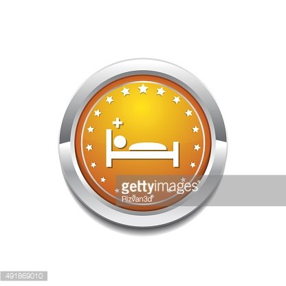 Heath Care Bed Yellow Vector Icon Button