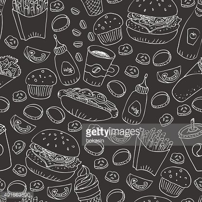 Vector fast food doodle seamless pattern in black and white