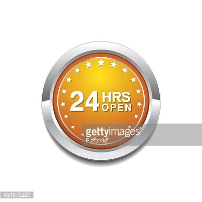 24 Hours Open Yellow Vector Icon Button