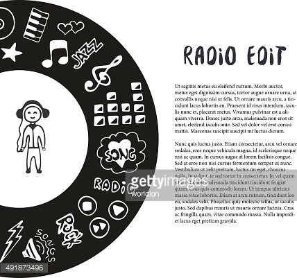 Hand drawn music vector illustration. Music sketch icons with meloman