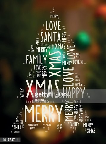 merry christmas wishing words on blurred festive candlelight background