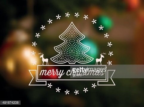 christmas tree icon with text ribbon on blurred candlelight background