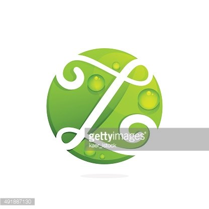 Z letter with green leaves and dew drops.