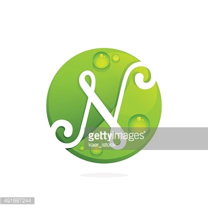 N letter with green leaves and dew drops.