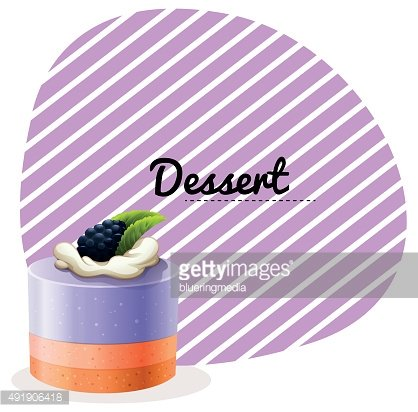 Blueberry cake and text design