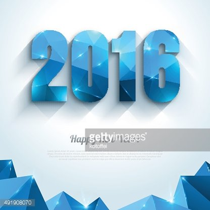Happy New Year 2016 greeting card in polygonal style.
