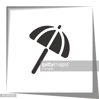 Parasol icon with cut out shadow effect