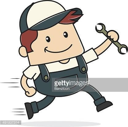 Plumber holding wrench and running