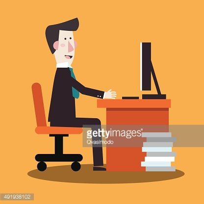 Happy businessman working in office at computer. Vector flat design