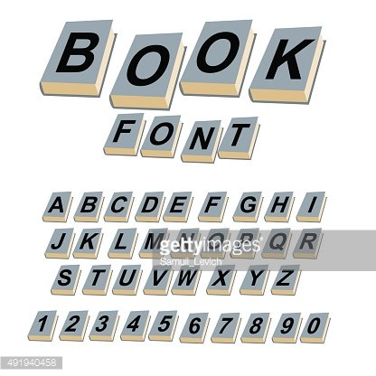 Font book. Alphabet on covers of books.