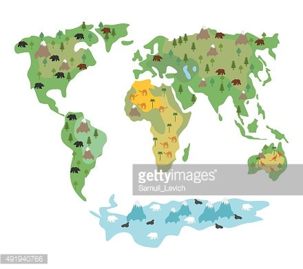 Map of world with animals and trees. Geographic map globe