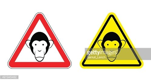 Warning sign attention monkey. Hazard yellow sign head monkeys.
