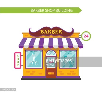 Barber shop building with whiskers signboards