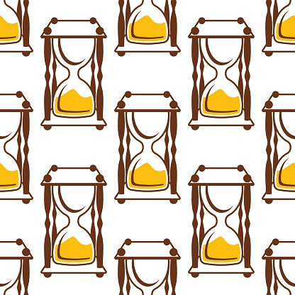 Hourglasses seamless pattern on white