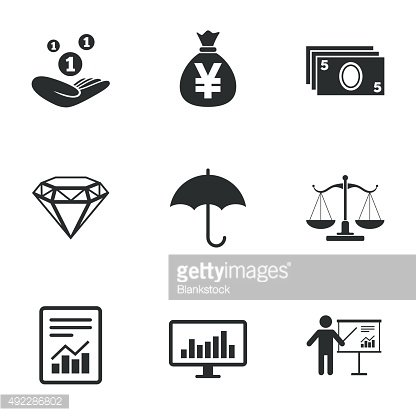 Money, cash and finance icons. Savings sign