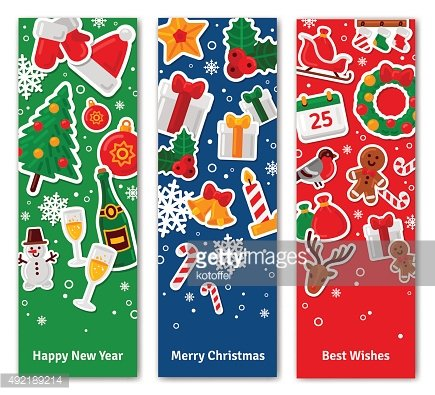 Merry Christmas Vertical Banners Set With Flat Sticker Icons.