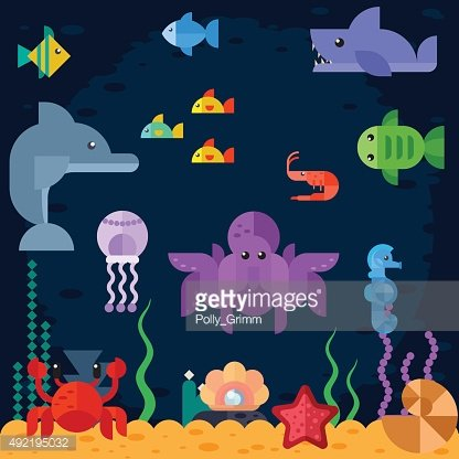 Ocean underwater life, sea animals.