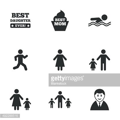 People, family icons. Swimming, person signs