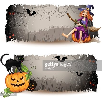 Halloween banners with witch and pumpkin