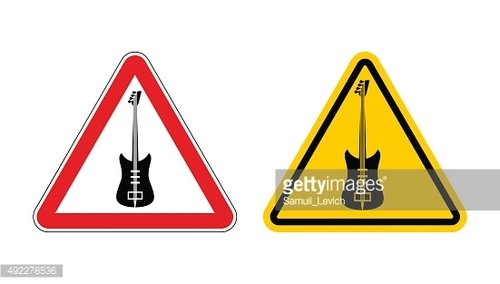 Warning sign attention to music. Guitar yellow label. Music tool