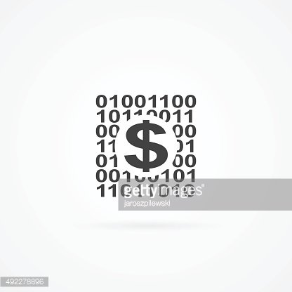 Icon of dollar sign on binary code.