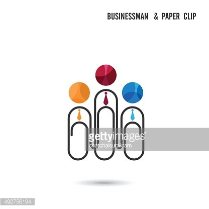 Businessman and paper clip design vector template.