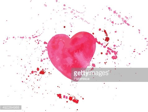Vector watercolor heart drawing with splashes