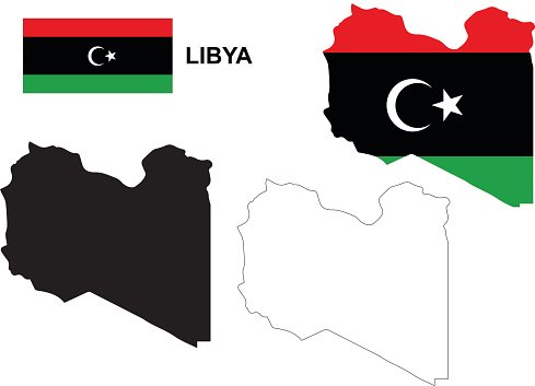 Libya map vector, Libya flag vector, isolated Libya