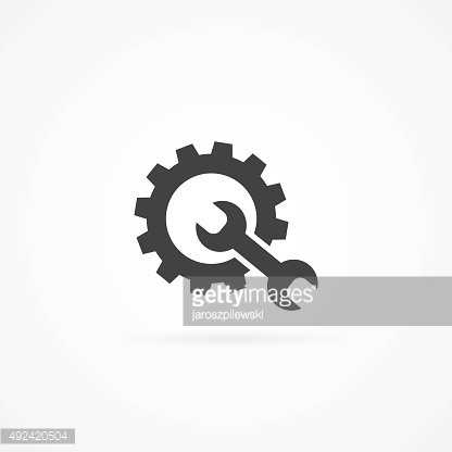 Wrench and cogwheel icon isolated on white.