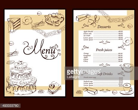 Background with sweets and cakes for menu design.