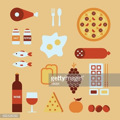 Vector illustration of food icons set