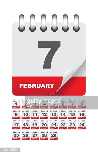 February daily calendar icon set