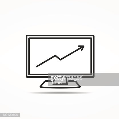 Computer with Graph Line Icon