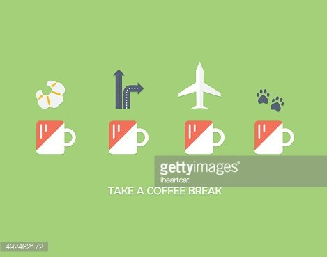 Coffee and leisure flat icons concept set