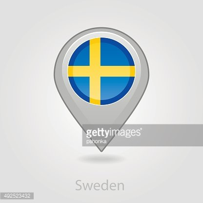 Sweden flag pin map icon, vector illustration
