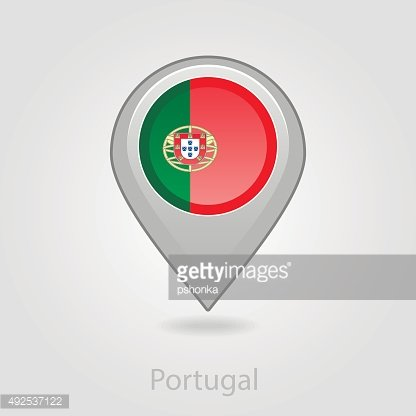 Portugal flag pin map icon, vector illustration