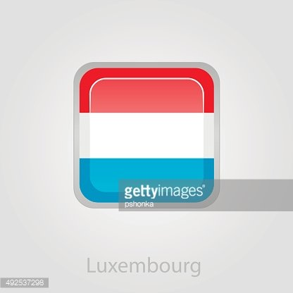 Luxembourg flag button, vector illustration