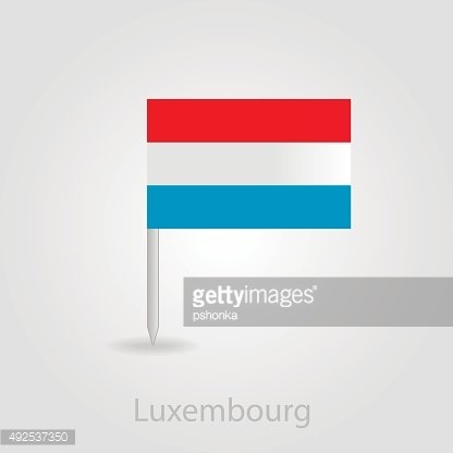 Luxembourg flag pin map icon, vector illustration