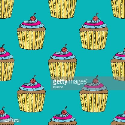 Colorful Hand-drawn Cup Cake Pattern on Blue Background