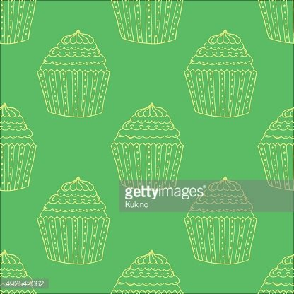 Blue Hand-drawn Cup Cake Outline Pattern on White Background