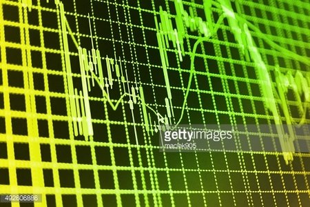 Stock market graph and bar chart price display