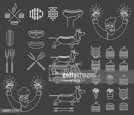 Fast food badges and icons white on black 5
