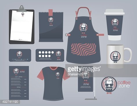 Vector coffee restaurant set and logo.