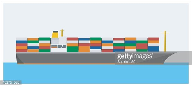 container ship simple illustration