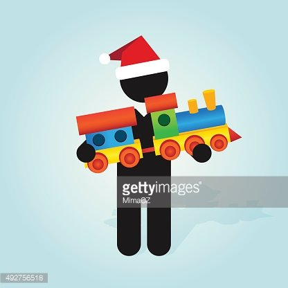 man with santa hat holds childrens color toy train