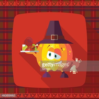 Card with chef cartoon pumpkin for Thanksgiving