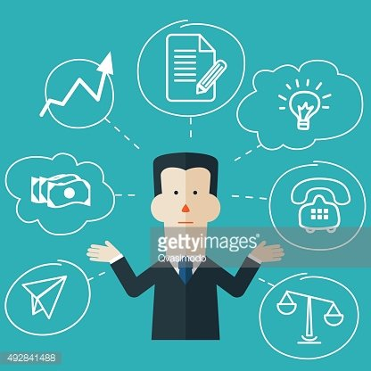 Vector Illustration of very busy businessman with multitasking