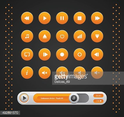 Vector orange round media player buttons and audio player